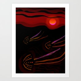Red Moon in the Ocean with Jellyfish Art Print