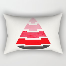 Futuristic Abstract Minimalist Mid Century Tribal Aztec Triangle Raindrop Red Geometric Pattern Rectangular Pillow
