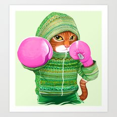 BOXING CAT 4 Art Print