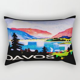 Davos Switzerland - Vintage Travel Rectangular Pillow