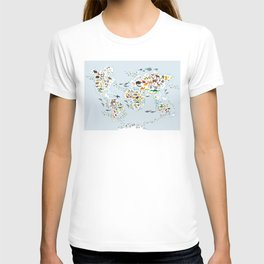 Cartoon animal world map for children and kids, Animals from all over the world, back to school T-Shirt