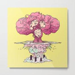 Mushroom Cloud Atomic Bomb Girls Artwork Metal Print