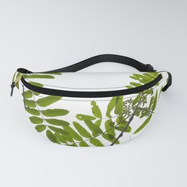 Green Rowan Leaves White Background #decor #society6 #buyart Fanny Pack