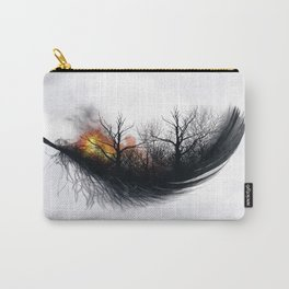 Fire Feather • Black Feather (horizontal) Carry-All Pouch