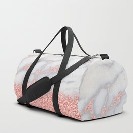 Sparkly Pink Rose Gold Glitter Ombre Bohemian Marble Duffle Bag