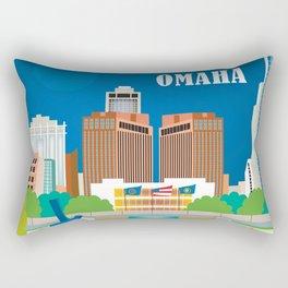 Omaha, Nebraska - Skyline Illustration by Loose Petals Rectangular Pillow