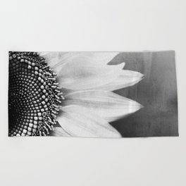 B&W Sunflower Beach Towel