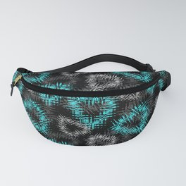 Broken heart . Black and turquoise pattern . Fanny Pack