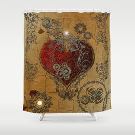 Steampunk, awesome heart Shower Curtain