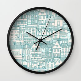 cafe buildings blue Wall Clock