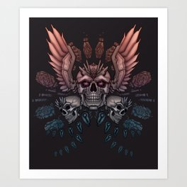 Mechanical Skull with Wings Art Print