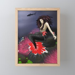 The Red Mermaid Framed Mini Art Print