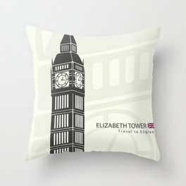 Elizabeth tower clock big Ben in London Throw Pillow