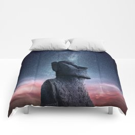 Moai Statue and The Milky Way Comforters