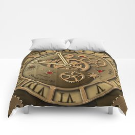 Steampunk clock gold Comforters