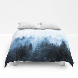 Misty Winter Forest Comforters