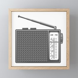 Vintage portable radio in design fashion modern monochrome style illustration Framed Mini Art Print