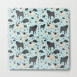 Pug Pattern Metal Print