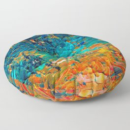 ETERNAL TIDE 2 Rainbow Ombre Ocean Waves Abstract Acrylic Painting Summer Colorful Beach Blue Orange Floor Pillow