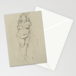 Curvy Nude Woman Figure Sketch Charcoal Gesture Drawing of Powerful Female Standing Expressive Stationery Cards