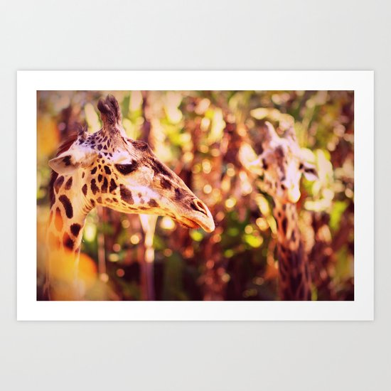 abstract with two giraffes Art Print
