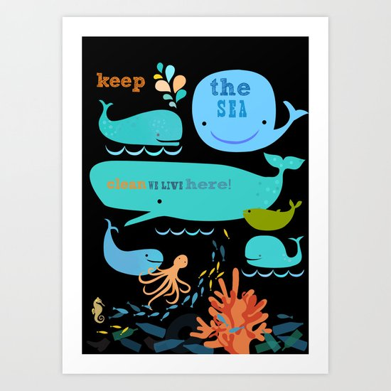 keep the sea clean Art Print
