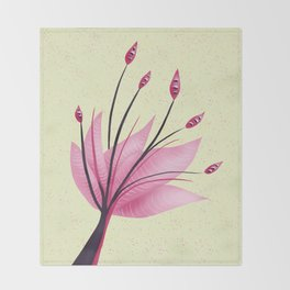 Pink Abstract Water Lily Flower Throw Blanket