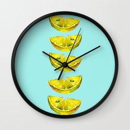 Lemon Slices Turquoise Wall Clock
