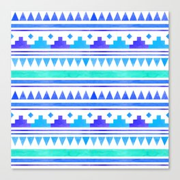 Seamless watercolor geometric pattern in native american style. Boho design Canvas Print