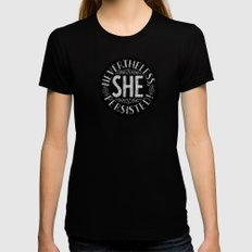 Nevertheless, She persisted. LARGE Womens Fitted Tee Black