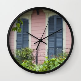 New Orleans Pink Front Porch Wall Clock