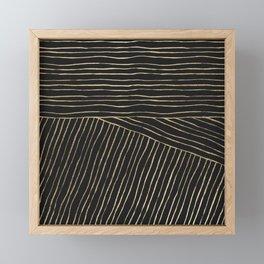 Elegant modern geometrical gold black stripes Framed Mini Art Print