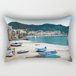Boats on Beach at Cefalu Italy Rectangular Pillow
