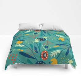 Floral dance in blue Comforters