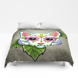 White Cat - Day of the Dead Sugar Skull Kitty Comforters