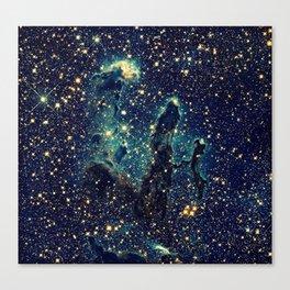 Pillars of Creation GalaxY  Teal Blue & Gold Canvas Print