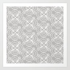 Silver grey lacey floral Art Print