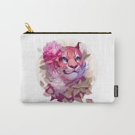 Tiger with Flowers (round) Carry-All Pouch
