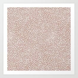 Little wild cheetah spots animal print neutral home trend warm dusty rose coral Art Print