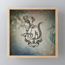 Music, key note with floral elements Framed Mini Art Print