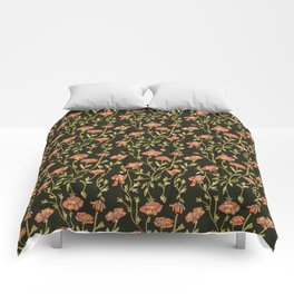 Dark Botanical Pattern Comforters