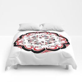 Floral Black and Red Round Ornament Comforters