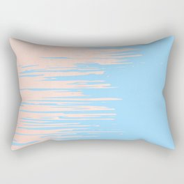 Carefree - Sweet Peach Coral Pink on Blue Raspberry Rectangular Pillow