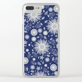 Beautiful Flowers in Navy Vintage Floral Design Clear iPhone Case