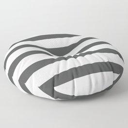 Dark Grey Stripes on White Background Floor Pillow