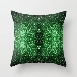 Glamour Dark Green glitter sparkles Throw Pillow