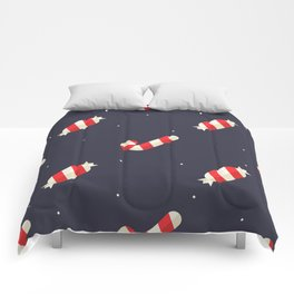 Red Christmas Peppermint Pattern Comforters