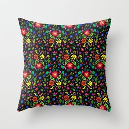 Folk Florals Dark Throw Pillow