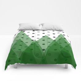Christmas mountains Comforters