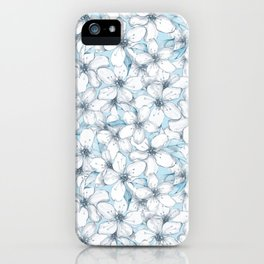 Cherry blossom. Blue iPhone Case